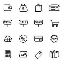 Vector illustration of thin line icons - shop