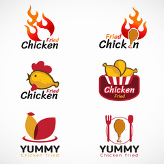 Chicken fried and fire logo vector set design