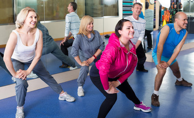 Group of adults doing aerobics exercise in  sport club