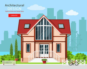 Cute modern private house facade design with trees and city skyline background. Stylish detailed building exterior. Front view. Flat style vector illustration.