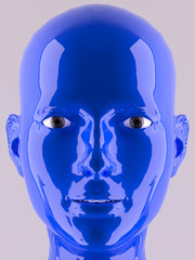 3D Face blue color painted looking to camera