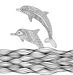 Hand drawn  dolphins with scrolling sea wave