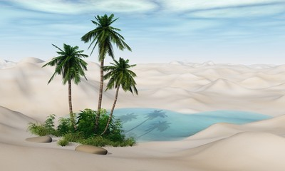 Oasis. Palm trees in the desert. Lake in the sand.