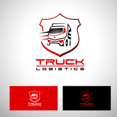 Transportation Truck Logo Vector Design. Truck Trailer logo Shape with red and black colors.