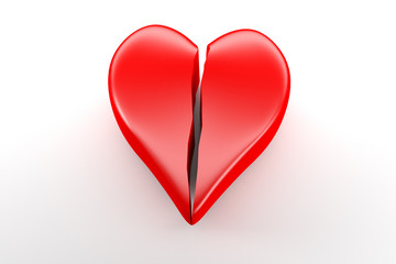 broken red Heart on white Background