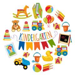 Kindergarten Play and study Vector images