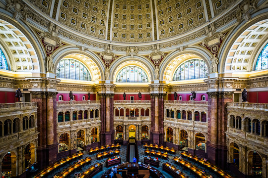 View of the Main Reading Room at the Library of Congress, in Was