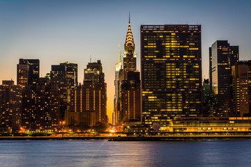 View of the Manhattan skyline at sunset, from Gantry Plaza State
