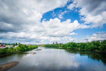 View of the Merrimack River, in Manchester, New Hampshire.