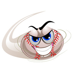Vector Illustration of Baseball Mascot being Hit