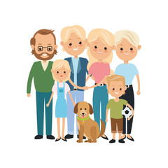 Family cartoon concept represented by grandparents, parents and kids icon. Isolated and Colorfull illustration.