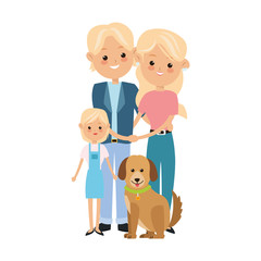 Family cartoon concept represented by parents and daughter with dog icon. Isolated and Colorfull illustration.