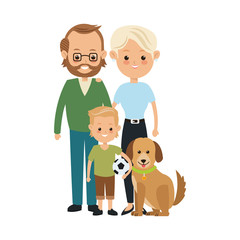 Family cartoon concept represented by parents and son with dog icon. Isolated and Colorfull illustration.