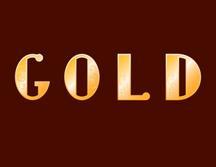 vector illustration gold inscription in gold precious letters on dark background