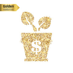 Gold glitter vector icon of money isolated on background. Art creative concept illustration for web, glow light confetti, bright sequins, sparkle tinsel, abstract bling, shimmer dust, foil.