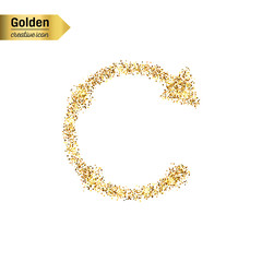 Gold glitter vector icon of back arrow isolated on background. Art creative concept illustration for web, glow light confetti, bright sequins, sparkle tinsel, abstract bling, shimmer dust, foil.