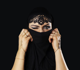 Beautiful caucasian young woman with black veil on face, blinking