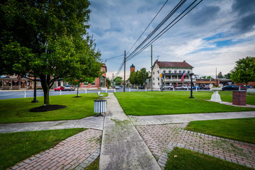 Walkways in the square in downtown New Oxford, Pennsylvania.