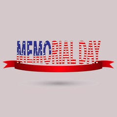 Memorial Day with text in national flag colors USA may 30 vector
