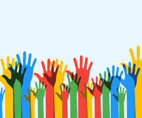Colorful up hands background. Democracy. Volunteers. Eps 10. Vec