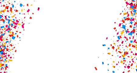 Fototapete - White background with confetti.