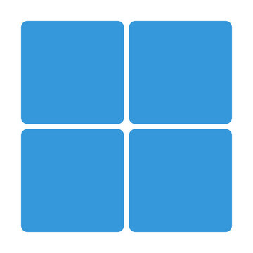 Blue Window block icon isolated on background. Modern simple fla