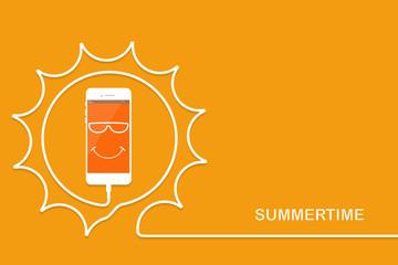 White Phone charging, fun sun. Summertime Smartphone, line wire.