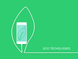Fototapeta Eco phone charge, wire isolated on green background. Surprise ba obraz