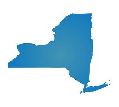 Blank Blue similar New York map isolated on white background. St