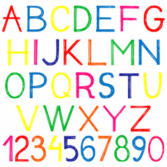english alphabet and numbers doodle style sketch illustration hand drawn vector
