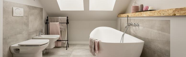 Romantic bathroom in a cosy attic