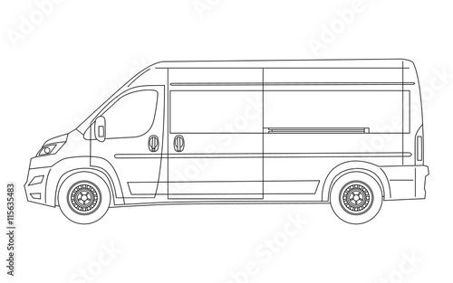 Modern van blueprint side view outline version vector stock modern van blueprint side view outline version vector malvernweather Image collections