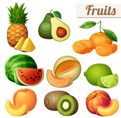 Set of food icons isolated on white background. Fruits. Pineapple (ananas), avocado, mandarin (tangerine), watermelon, melon (cantaloupe) , lime, peach, nectarine