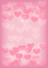 Heart blur bokeh background with copy space; pink color theme.