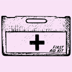 First aid kit box doodle style sketch illustration hand drawn vector
