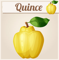 Quince fruit. Cartoon vector icon
