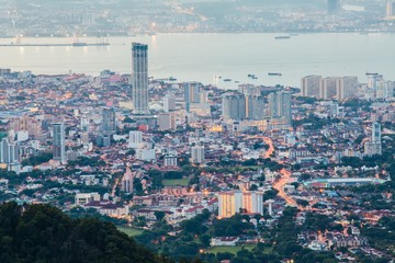 George Town Penang, Malaysia view from Penang Hill