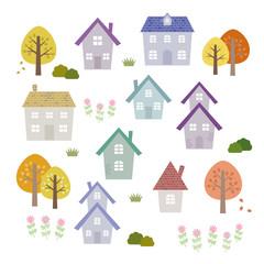 秋の家 素材セット / vector eps10