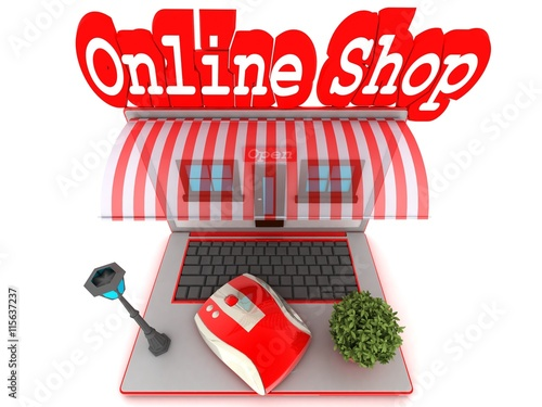 Online Shop 3d Rendering Stock Photo And Royalty Free