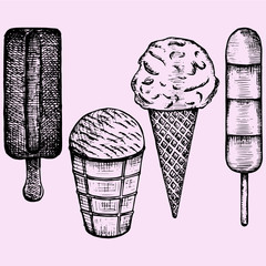 ice cream set doodle style sketch illustration hand drawn vector