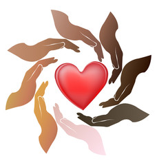 Logo of multiracial hands with love heart