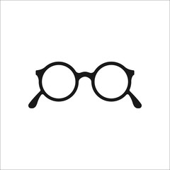 Hipster round festival glasses simple icon on background