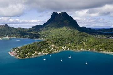 French Polynesia, Bora Bora. Aerial view of Bora Bora.