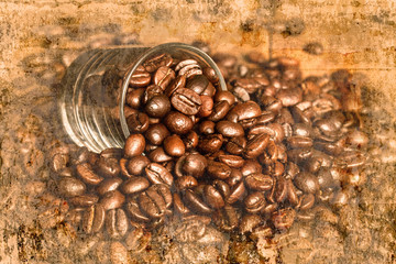 coffee beans with small glass on wood table on old wall textured