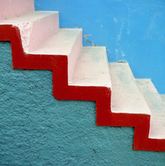 South America, Argentina, Buenos Aires. Stark, colorful and striking stairs are part of La Boca, Buenos Aires, Argentina.