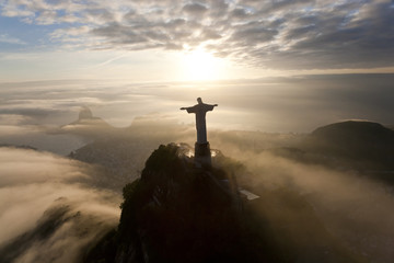 The Art Deco statue of Jesus, known as Cristo Redentor (Christ the Redeemer), on Corcovado mountain in Rio de Janeiro, Brazil.