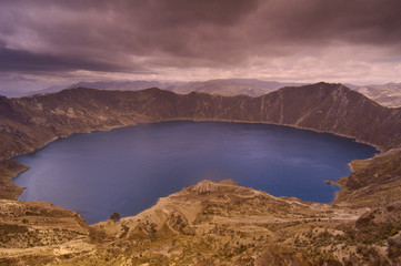 Quilatoa Crater Lake. Andes Ecuador. South America