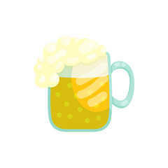 Mug of beer icon in cartoon style on a white background