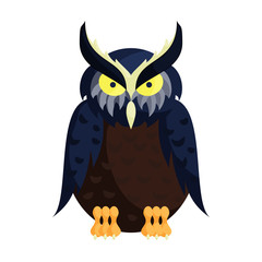 Owl icon in cartoon style on a white background