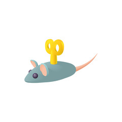 Clockwork mouse icon in cartoon style on a white background